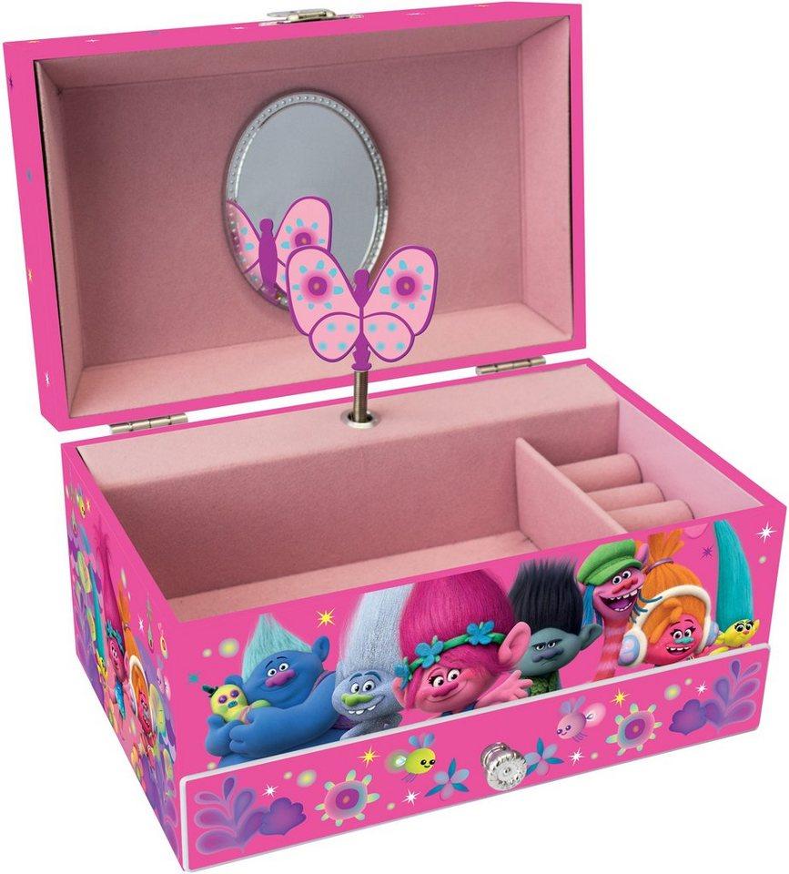 JOY TOY Schmuckkästchen, »DreamWorks Trolls Schattule mit Ringkissen und Spieluhr« in rosa
