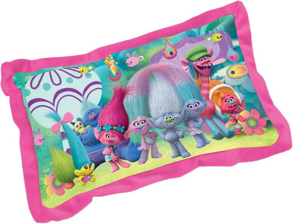 JOY TOY Schmusekissen, »DreamWorks Trolls Rechteckiges Plüschkissen mit der Trolls Gang« in rosa