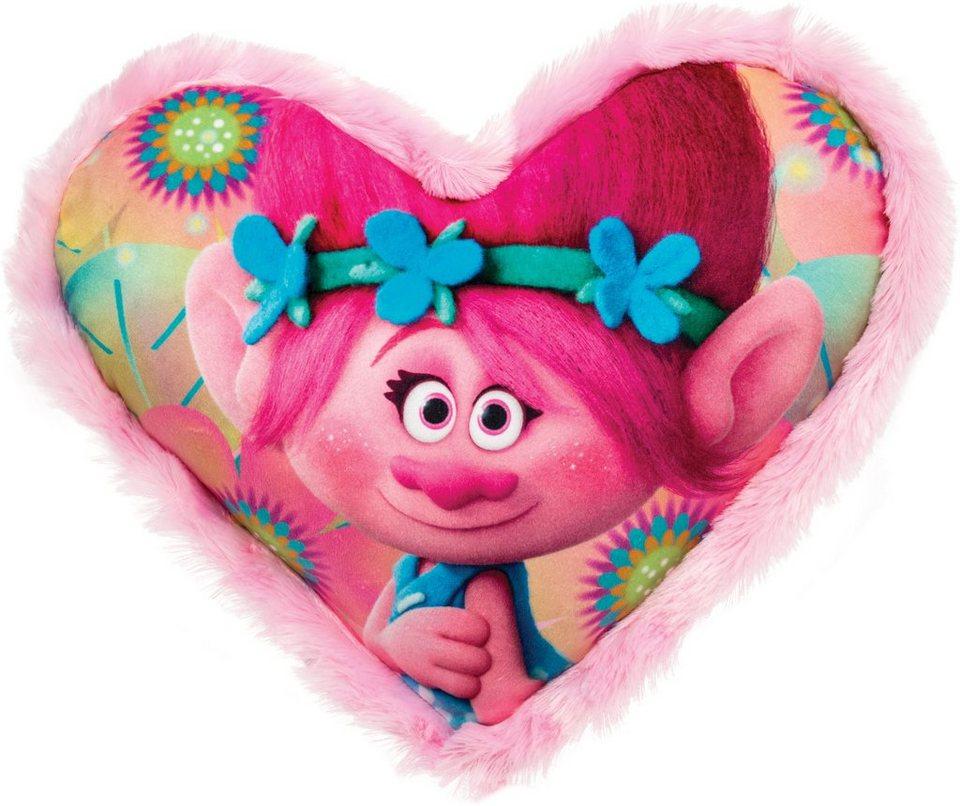 JOY TOY Schmusekissen in Herzform, »DreamWorks Trolls Herzförmiges Kissen mit Plüschborde« in rosa