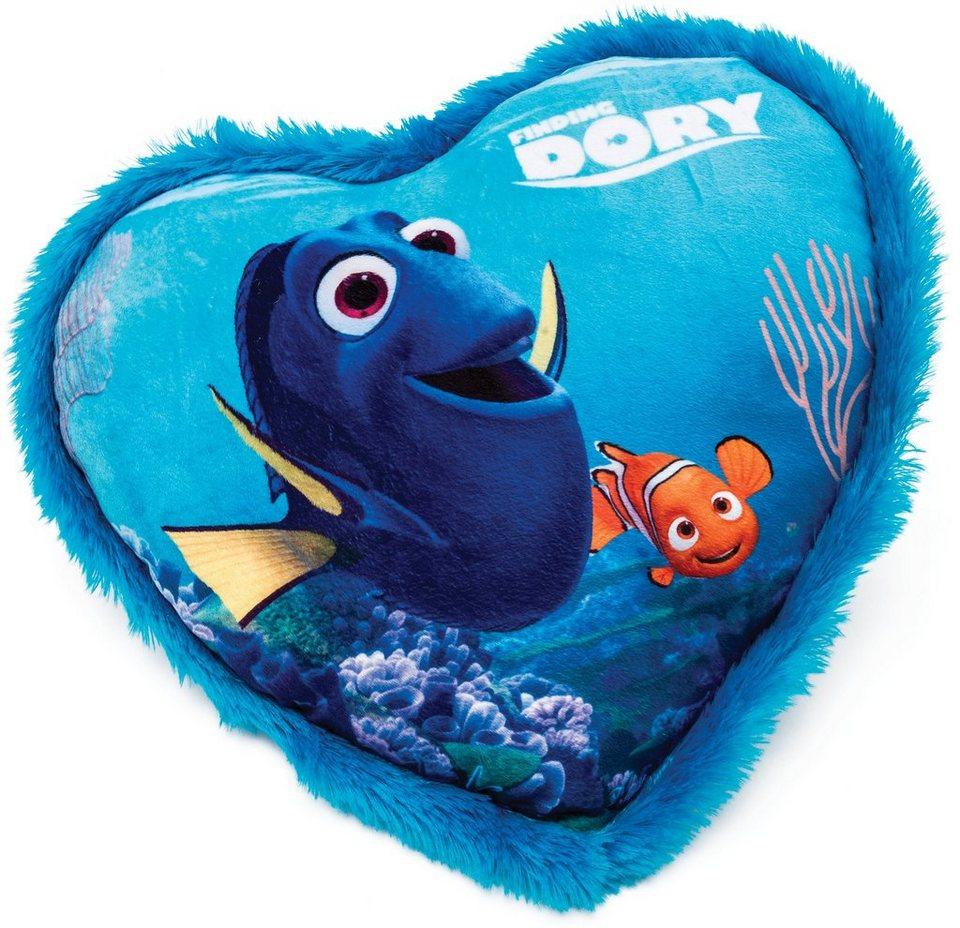 JOY TOY Schmusekissen in Herzform, »Disney Pixar Findet Dorie Kuschelkissen mit Plüschborde« in blau