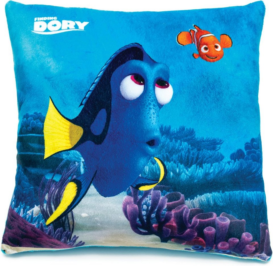 JOY TOY Schmusekissen, »Disney Pixar Findet Dorie Kuschelkissen in Quadratform« in blau