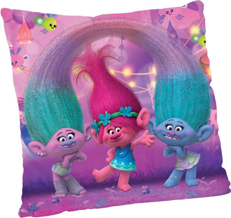 JOY TOY Schmusekissen, »DreamWorks Trolls Quadratisches Plüschkissen« in rosa