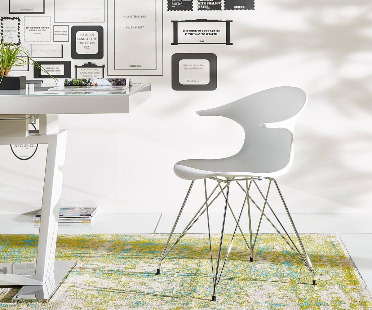 DELIFE Küchenstuhl Jadiana Weiss Beine Verchromt Esszimmerstuhl