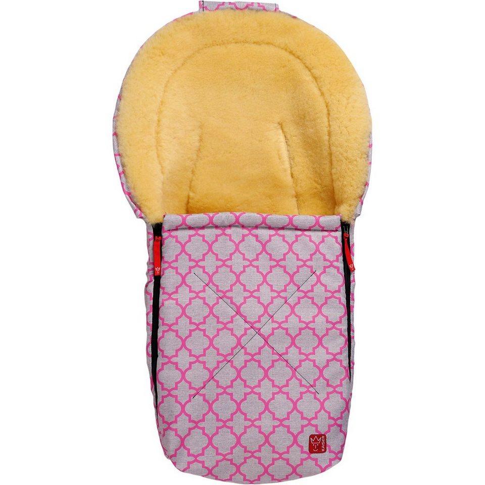 Kaiser Fußsack für Babyschale EMMA mit Lammfell, pink ornament, Lim