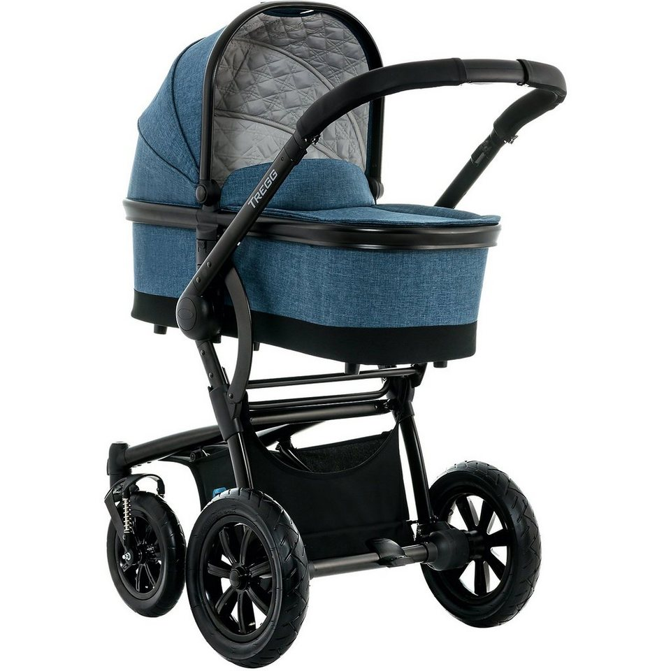 Moon Kombi Kinderwagen TREGG City, blue/melange in marine meliert