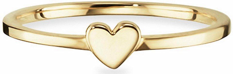 CAÏ Fingerring »Pearl Love, Herz, C7150R/90/00« in Silber 925-goldfarben