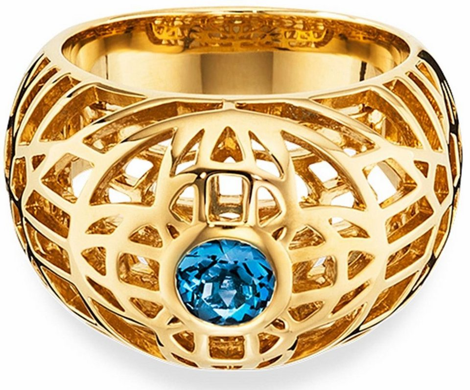 CAÏ Fingerring »Marocco Nights, C1701R/90/25« mit blauem Topas in Silber 925-goldfarben-blau