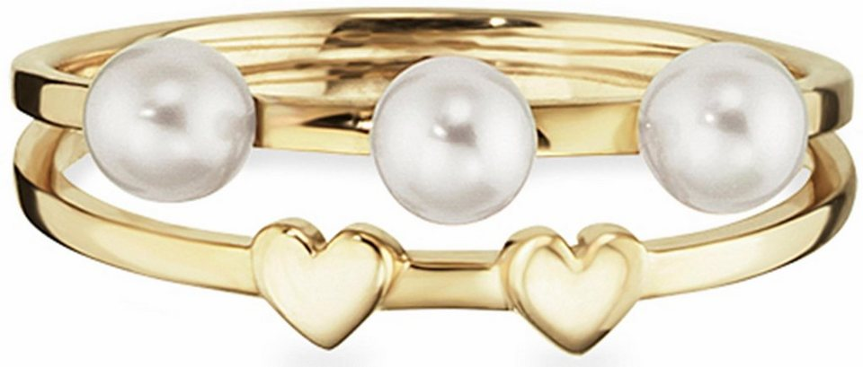 CAÏ Fingerring »Pearl Love, Herzen, C7156R/90/46« mit Süßwasserzuchtperlen in Silber 925-goldfarben-weiß