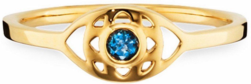 CAÏ Fingerring »Marocco Nights, C1705R/90/25« mit blauem Topas in Silber 925-goldfarben-blau