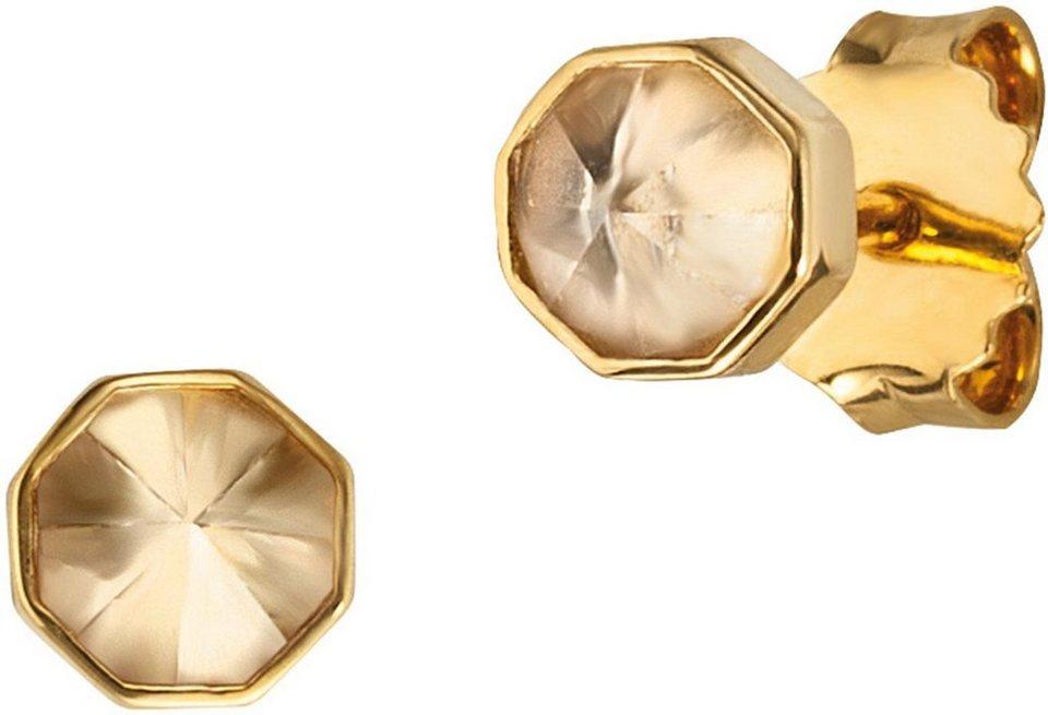 caï Women Paar Ohrstecker »C1678E/90/AD« mit Kristallsteinen in Silber 925-goldfarben vergoldet