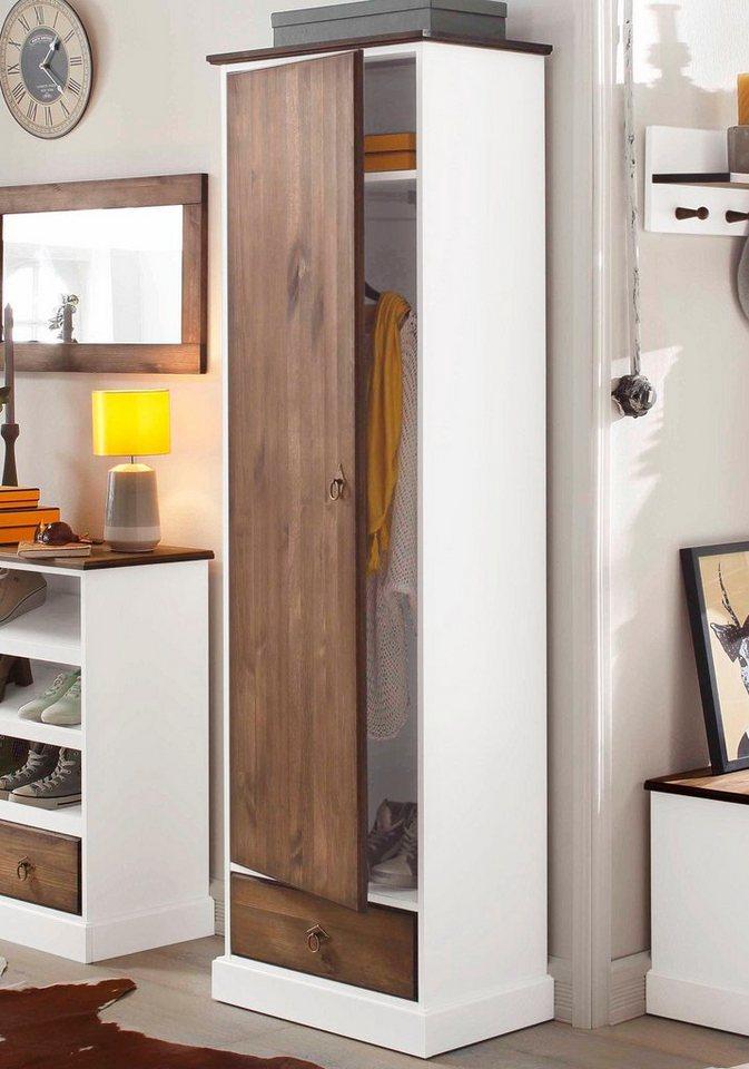 Home affaire Garderobenschrank »Virginia« in braun/weiß
