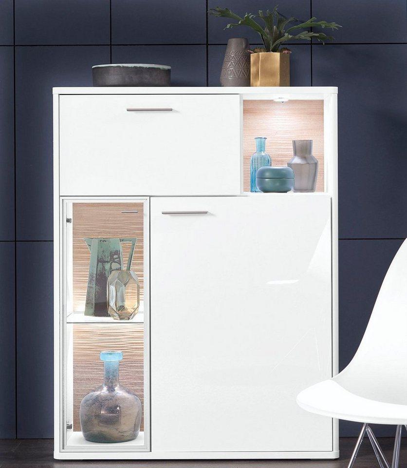 set one by Musterring Highboard »miami« Typ 32, in Grau matt oder Weiß Hochglanz, Breite 95 cm in Weiß Hochglanz