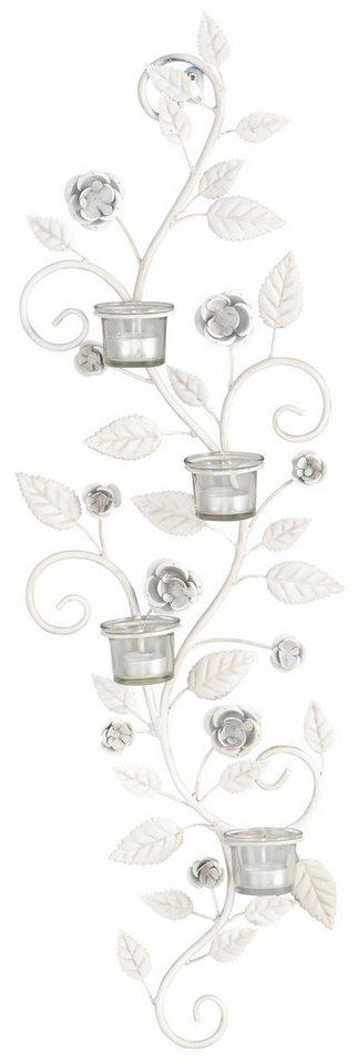 Home affaire Wandkerzenhalter »Blumenranke« in weiß