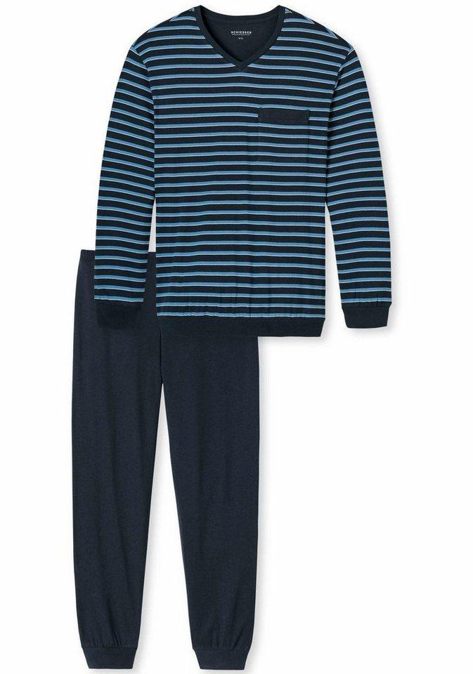 Schiesser langer Pyjama in dunkelblau