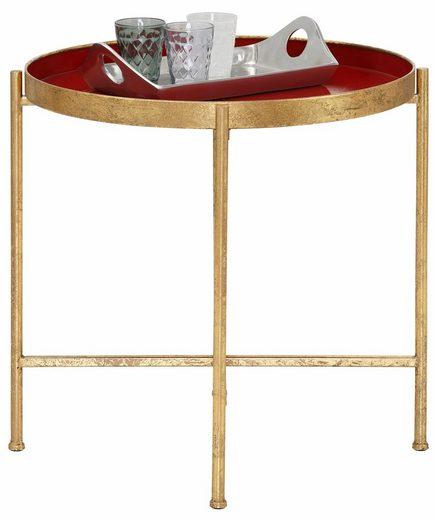 Home affaire Beistelltisch, aus Metall, Tischplatte mit 5 cm hohem Rand