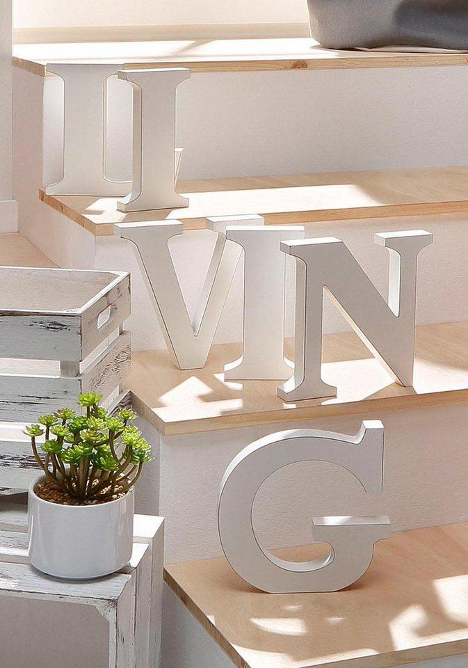 Home affaire Schriftzug »LIVING« in weiß