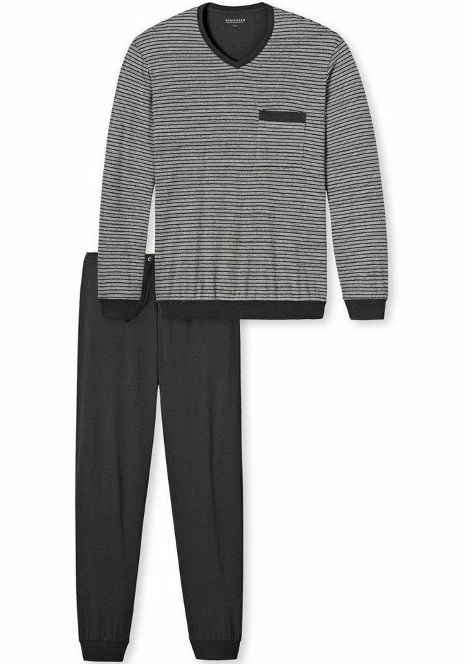 Schiesser Pyjama. Aus 100% Baumwolle. in grau-meliert