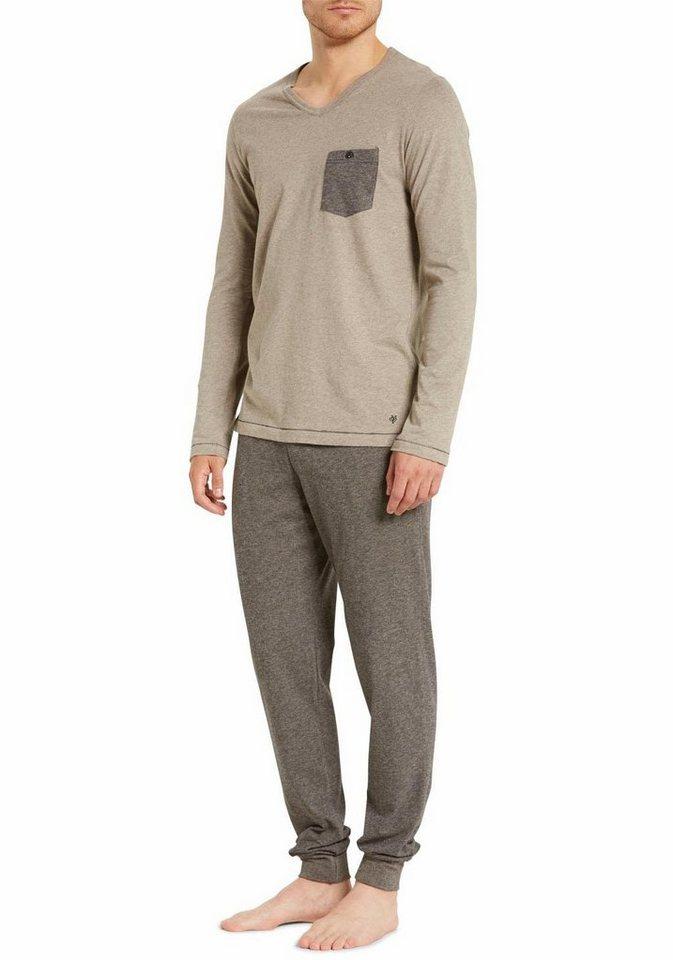 Marc O'Polo Pyjama mit farblich akzentuierter Brusttasche in braun-melieret