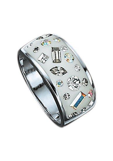 firetti Ring mit weißem Lack und funkelnden Zirkonia in Silber 925, weiß/bunt