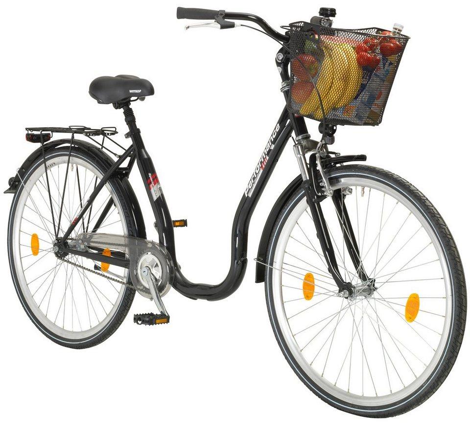 Performance Citybike Tiefeinsteiger »66,04 cm (26 Zoll), 71,12 cm (28 Zoll)« in schwarz