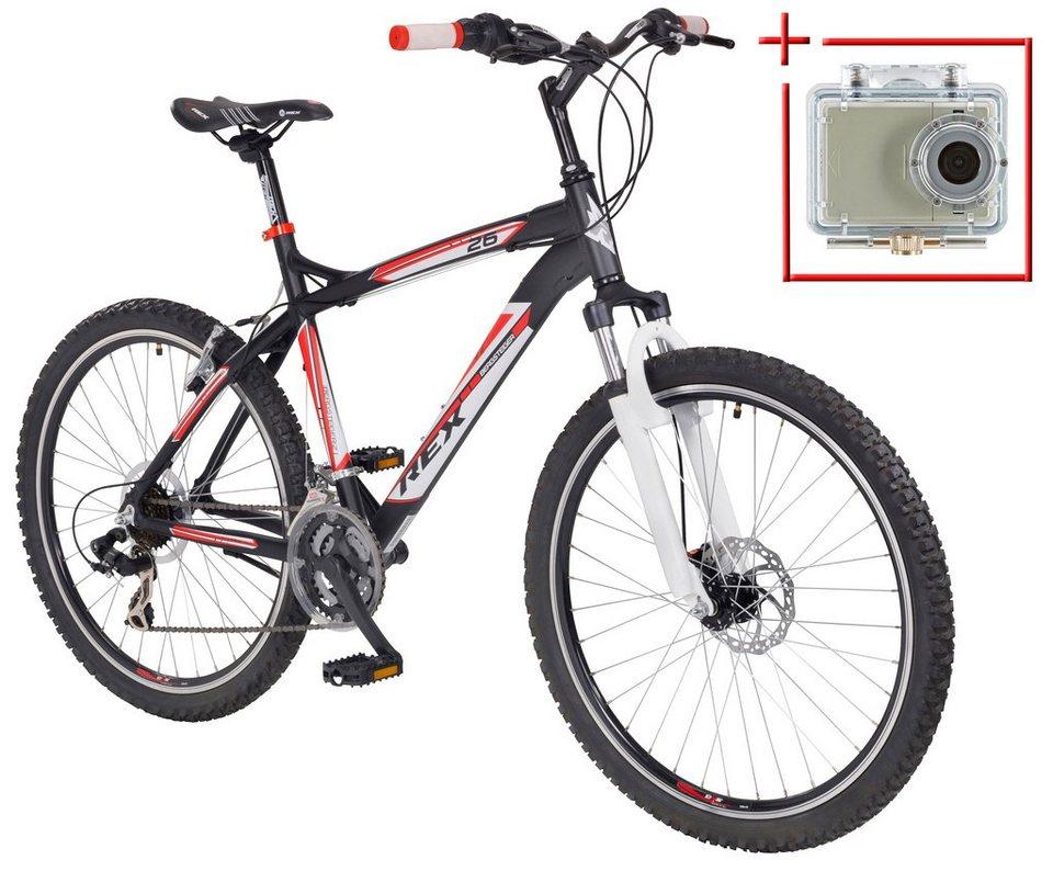 Mountainbike »Bergsteiger 6.2«, 26 Zoll, SHIMANO 21 Gang, inkl. Action-Cam in schwarz