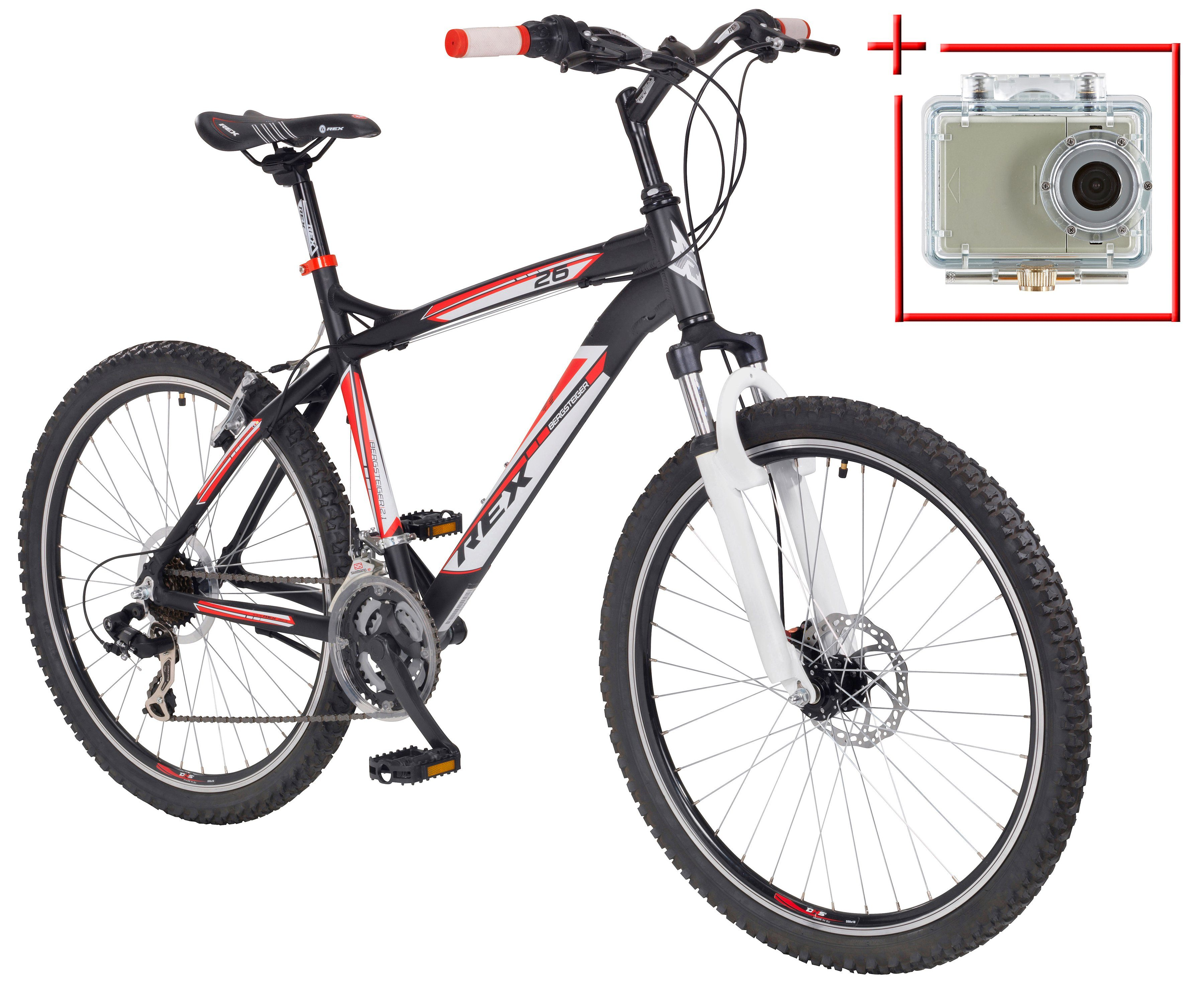 Mountainbike »Bergsteiger 6.2«, 26 Zoll, SHIMANO 21 Gang, inkl. Action-Cam