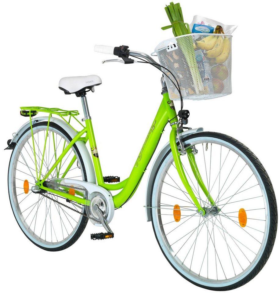 Citybike Damen »Pisa«, 26/28 Zoll, 3 Gang, Rücktrittbremse in grün