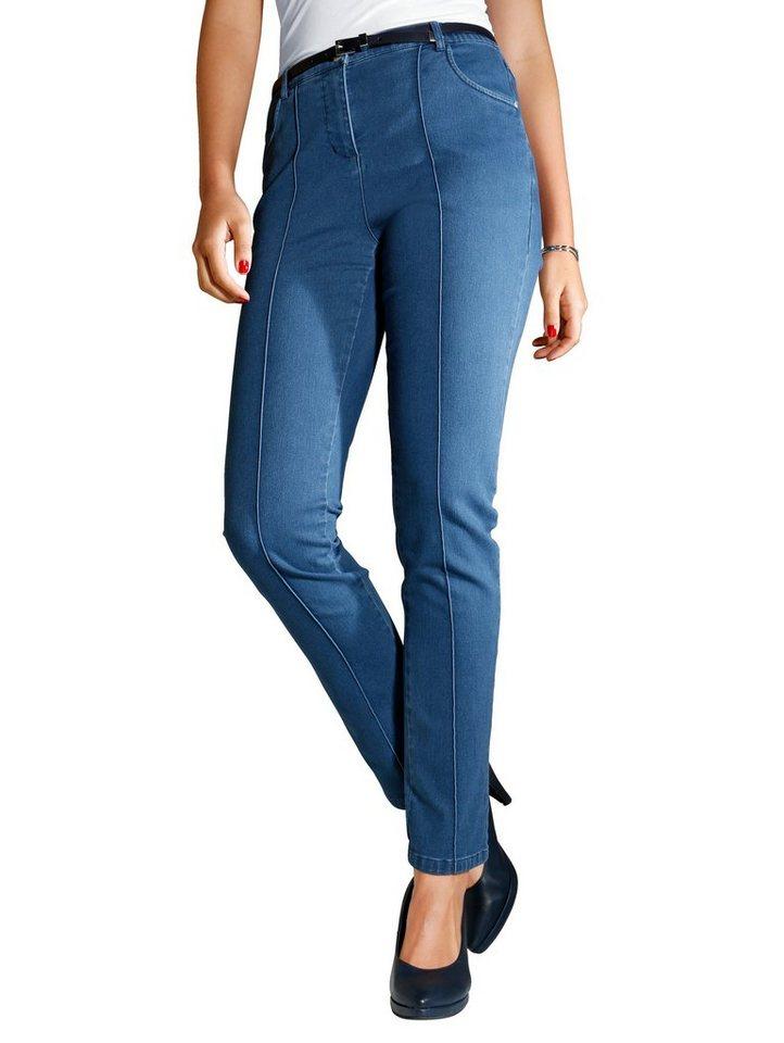 MIAMODA Jeans mit streckender Längsnaht in blue denim