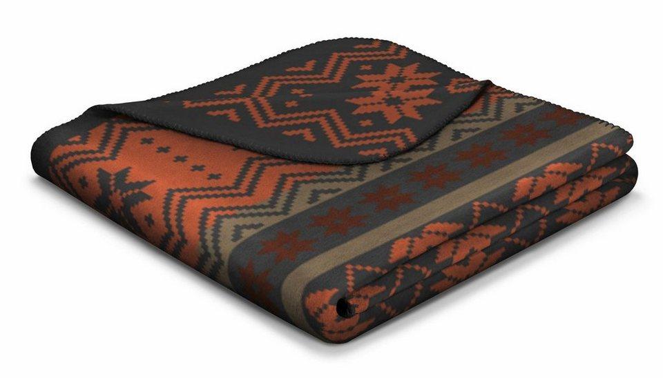 Wolldecke, Biederlack, »Norwegian Style«, im norwegischen Design in rot-schwarz