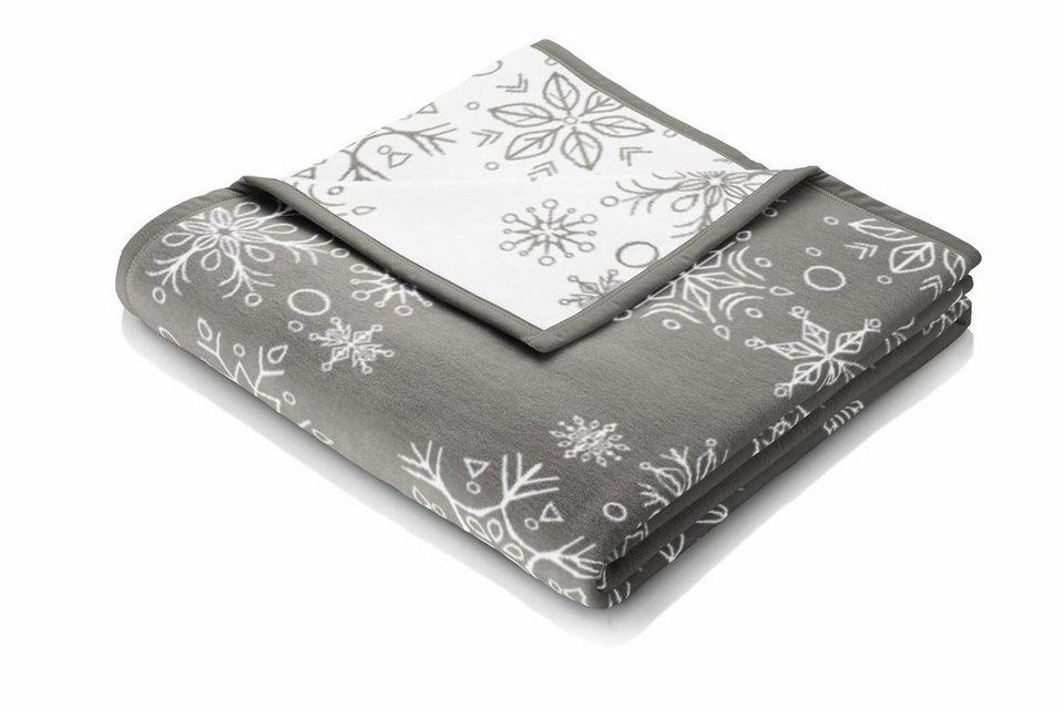Wohndecke, Biederlack, »Big Snowflakes«, im zauberhaften Winter Design in grau