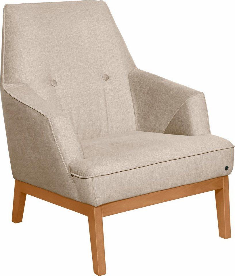 tom tailor sessel cozy im retrolook mit kedernaht und kn pfung f e buche natur online. Black Bedroom Furniture Sets. Home Design Ideas