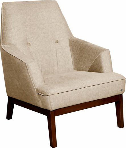 TOM TAILOR Sessel »COZY«, im Retrolook, mit Kedernaht und Knöpfung, Füße nussbaumfarben