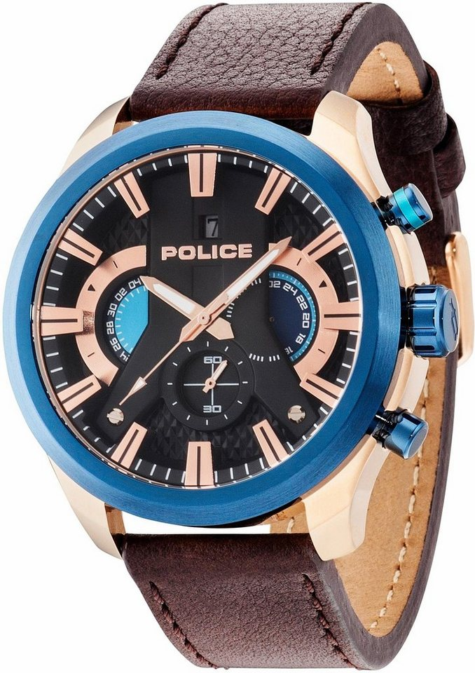 Police Chronograph »CYCLONE, PL14639JSRBL.02« in braun
