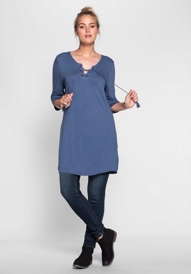 sheego Casual Mini-Jerseykleid in rauchblau