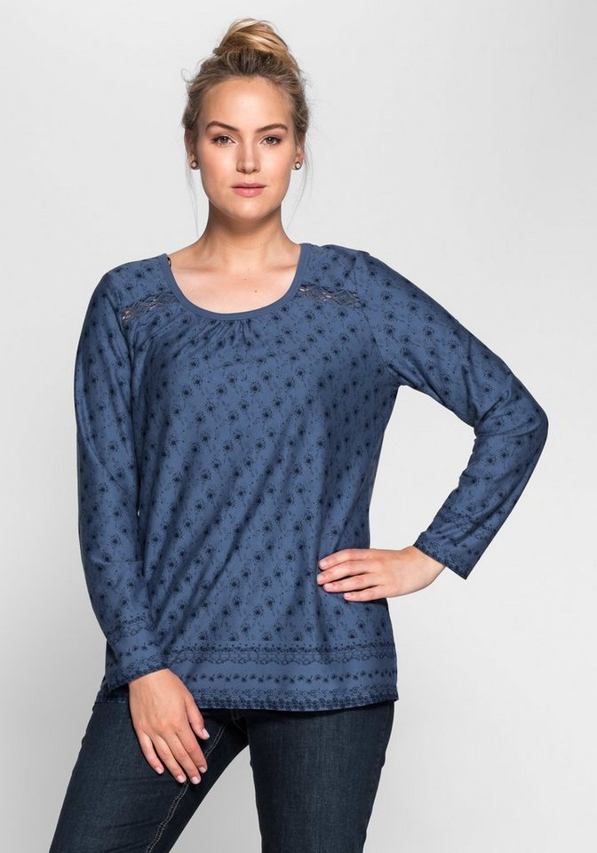 sheego Casual Langarmshirt mit floralem Alloverdruck in rauchblau