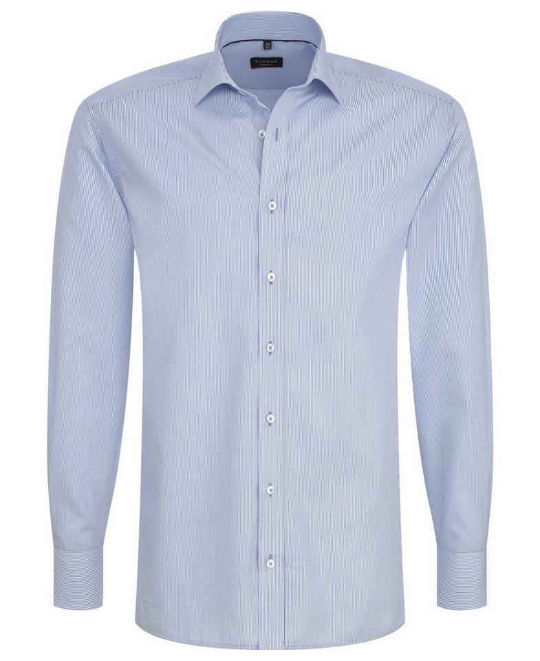 ETERNA Langarm Hemd »MODERN FIT« in blau/weiß
