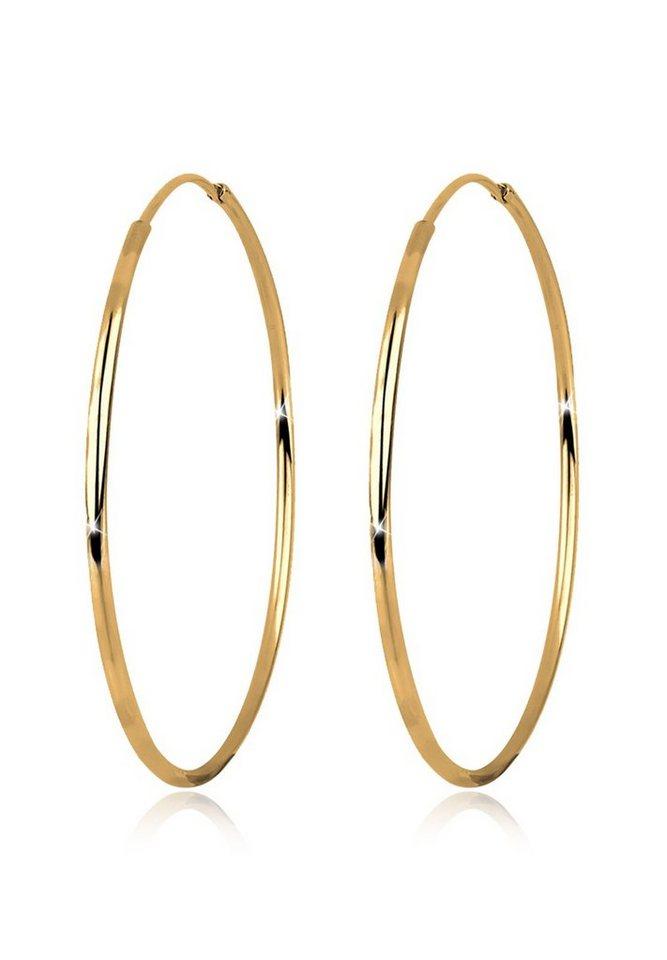 GOLDHIMMEL Ohrringe »Creolen Basic Filigran Hochwertig Silber vergoldet« in Gold