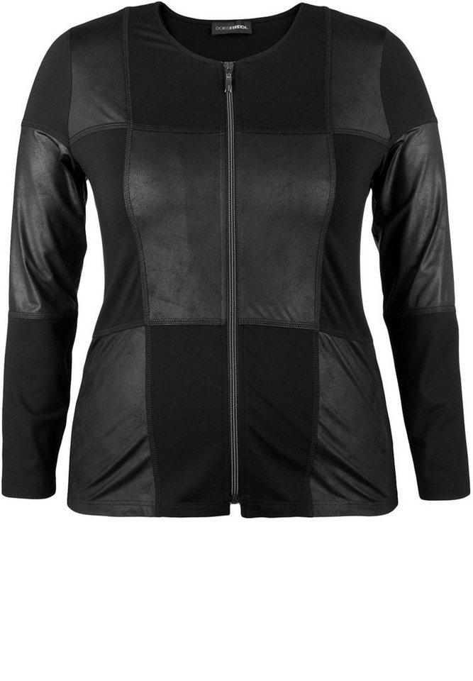 Doris Streich Jerseyjacke »IM MATERIAL-MIX« in schwarz