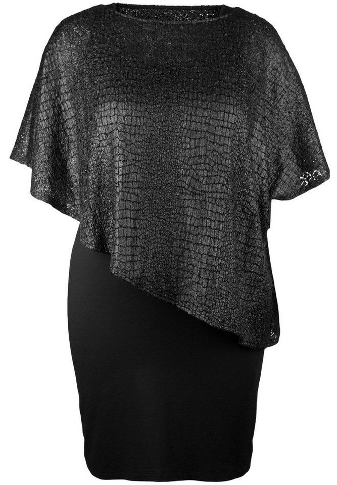 Doris Streich Jerseykleid »ZWEILAGIG IM KROKO-LOOK« in schwarz