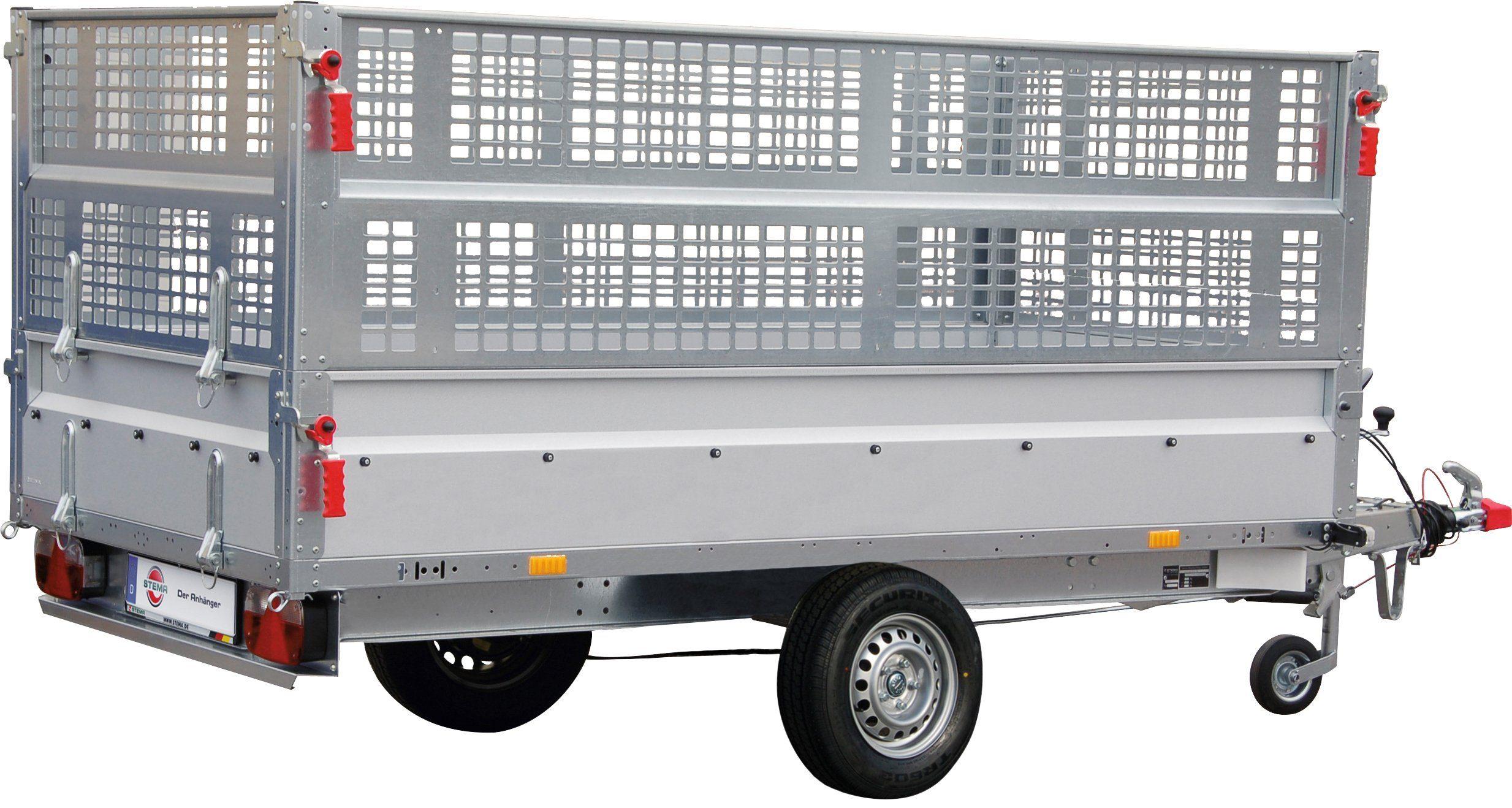 Stema Set: PKW-Anhänger »BASIC SH 1300-25-13«, inkl. Gitteraufsatz und Flachplane