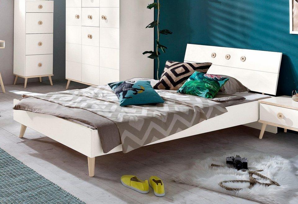 WIMEX Bett in weiß/struktureichefarben hell