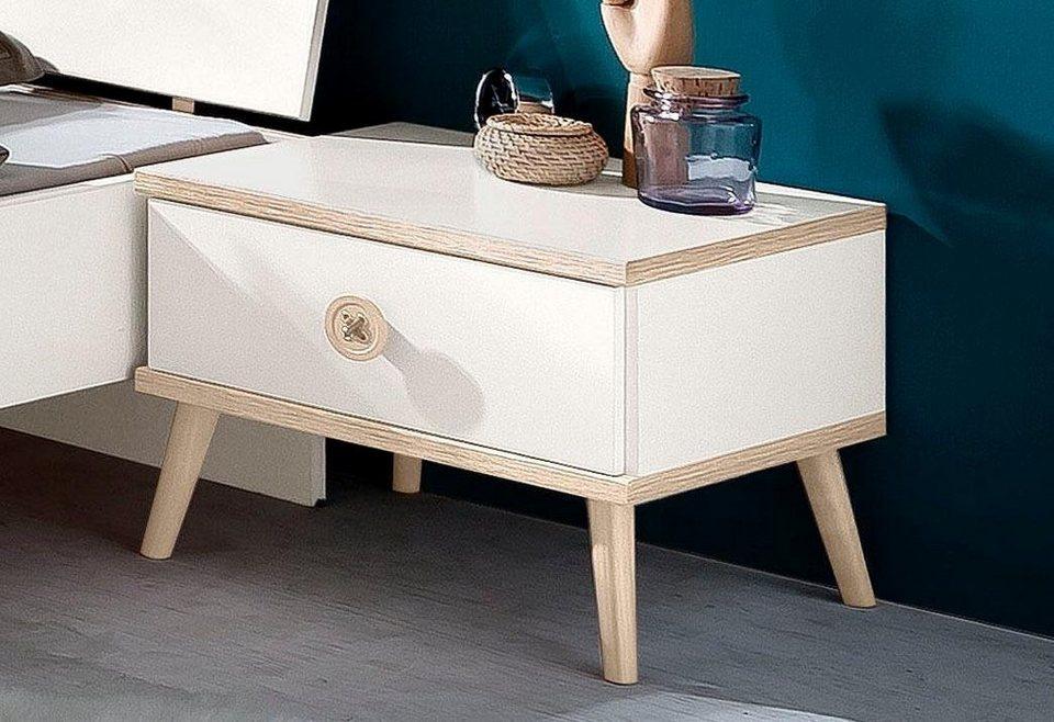WIMEX Nachttisch in weiß/struktureichefarben hell