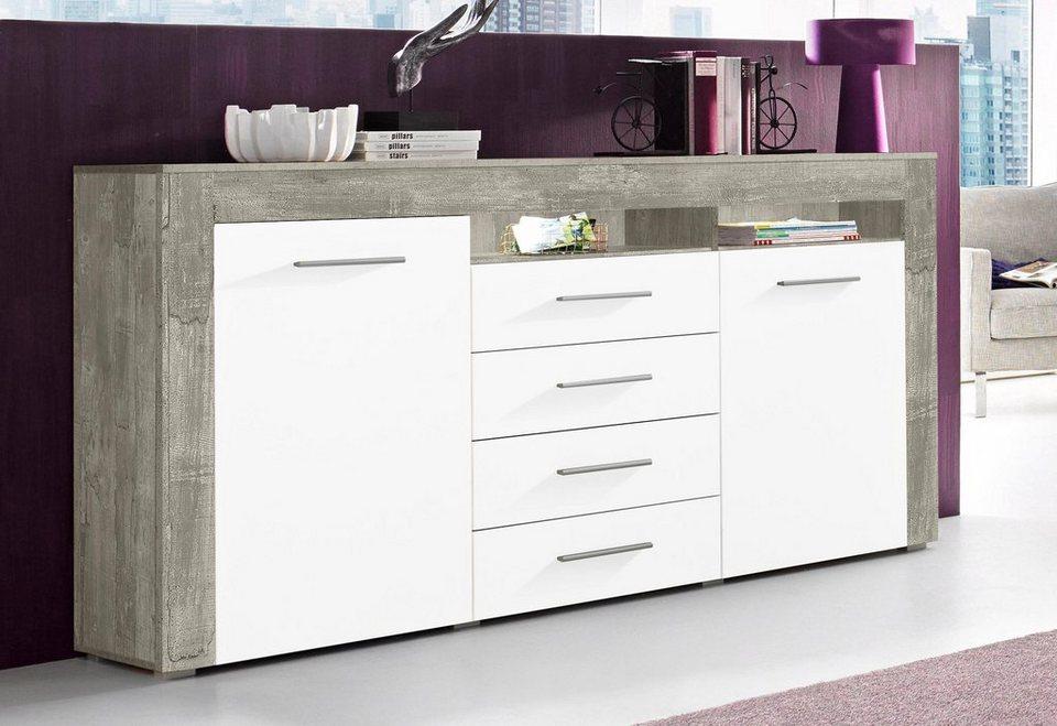 Sideboard, Breite 180 cm in Beton-Optik/Weiß