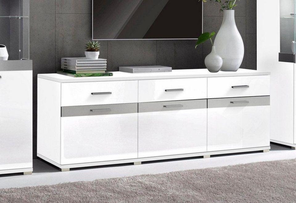 Lowboard, Breite 180 cm in Weiß matt/Weiß Hochglanz
