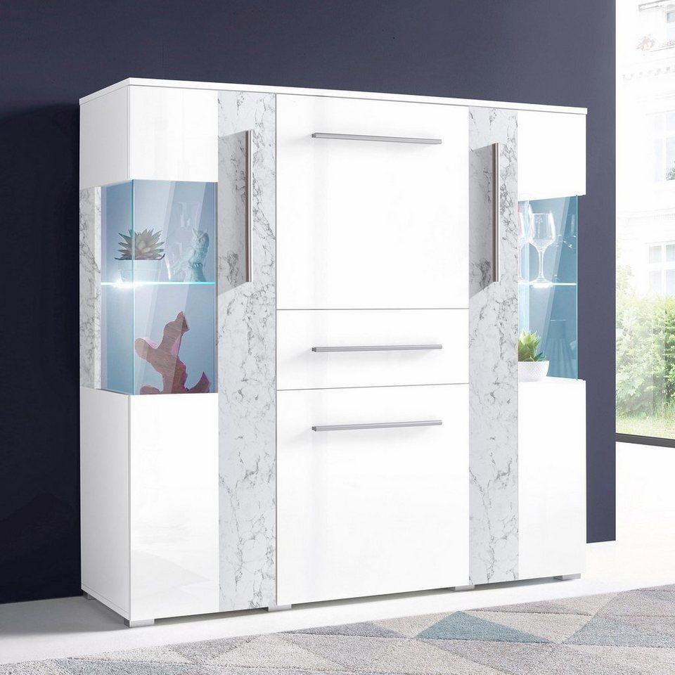 Highboard, Breite 130 cm in weiß/Marmor-Optik