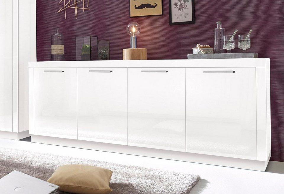 Sideboard, Breite 200 cm in Weiß Hochglanz