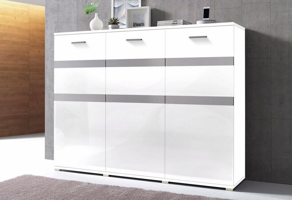 Highboard, Breite 180 cm in Weiß matt/Weiß Hochglanz