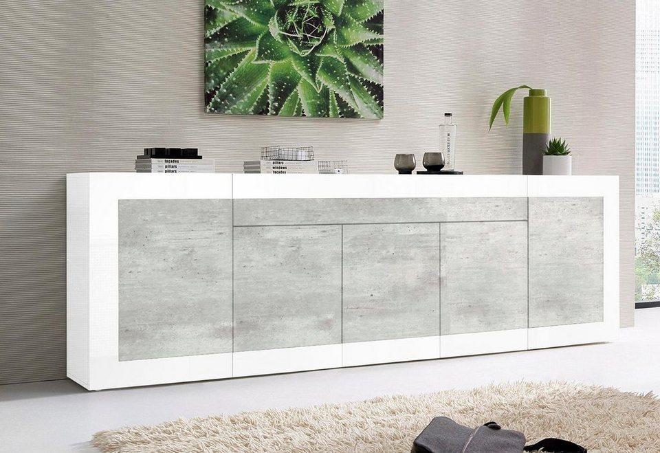 Tecnos Sideboard, Breite 240 cm in Weiß Hochglanz/Beton-Optik