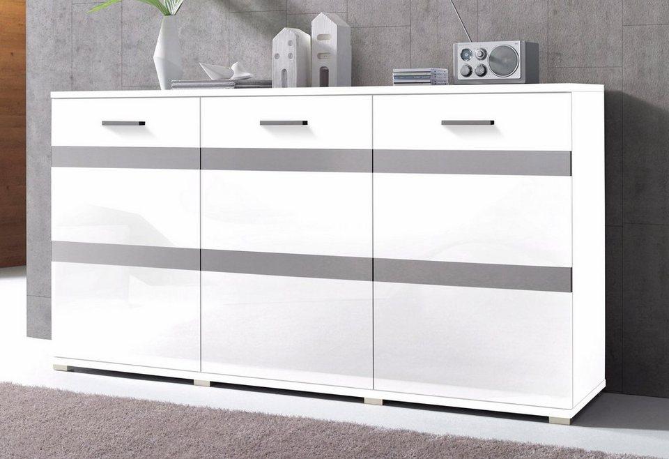 Sideboard, Breite 180 cm in Weiß matt/Weiß Hochglanz