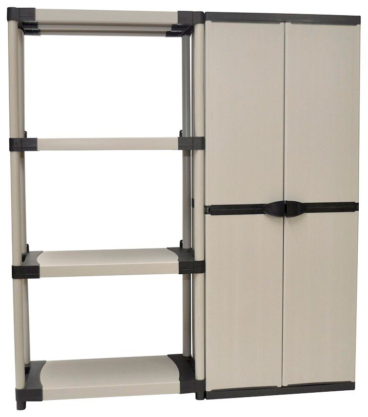 Steckregal kunststoff grau  Set:»Kunststoff Steckregal + Universalschrank